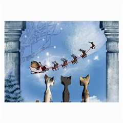 Christmas, Cute Cats Looking In The Sky To Santa Claus Large Glasses Cloth