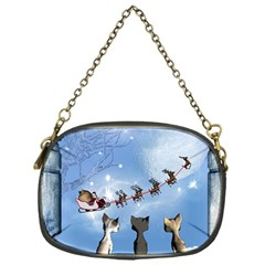 Christmas, Cute Cats Looking In The Sky To Santa Claus Chain Purses (one Side)