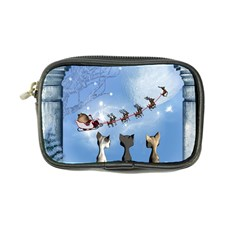 Christmas, Cute Cats Looking In The Sky To Santa Claus Coin Purse