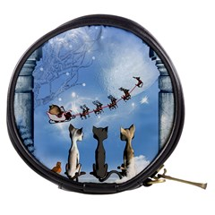 Christmas, Cute Cats Looking In The Sky To Santa Claus Mini Makeup Bags