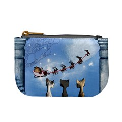 Christmas, Cute Cats Looking In The Sky To Santa Claus Mini Coin Purses