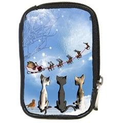 Christmas, Cute Cats Looking In The Sky To Santa Claus Compact Camera Cases