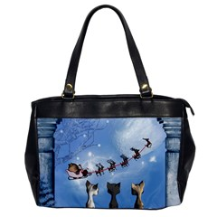 Christmas, Cute Cats Looking In The Sky To Santa Claus Office Handbags
