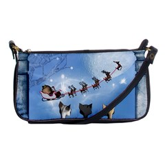 Christmas, Cute Cats Looking In The Sky To Santa Claus Shoulder Clutch Bags