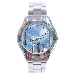 Christmas, Cute Cats Looking In The Sky To Santa Claus Stainless Steel Analogue Watch