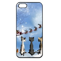 Christmas, Cute Cats Looking In The Sky To Santa Claus Apple Iphone 5 Seamless Case (black)