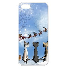 Christmas, Cute Cats Looking In The Sky To Santa Claus Apple Iphone 5 Seamless Case (white)