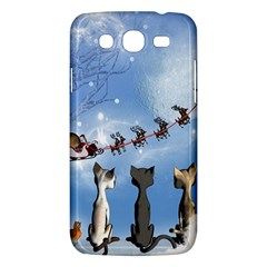 Christmas, Cute Cats Looking In The Sky To Santa Claus Samsung Galaxy Mega 5 8 I9152 Hardshell Case