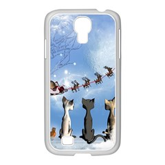 Christmas, Cute Cats Looking In The Sky To Santa Claus Samsung Galaxy S4 I9500/ I9505 Case (white)