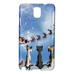 Christmas, Cute Cats Looking In The Sky To Santa Claus Samsung Galaxy Note 3 N9005 Hardshell Case
