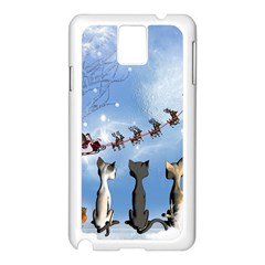 Christmas, Cute Cats Looking In The Sky To Santa Claus Samsung Galaxy Note 3 N9005 Case (white)