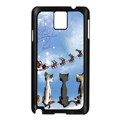 Christmas, Cute Cats Looking In The Sky To Santa Claus Samsung Galaxy Note 3 N9005 Case (black)