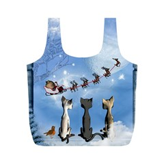 Christmas, Cute Cats Looking In The Sky To Santa Claus Full Print Recycle Bags (m)
