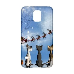 Christmas, Cute Cats Looking In The Sky To Santa Claus Samsung Galaxy S5 Hardshell Case