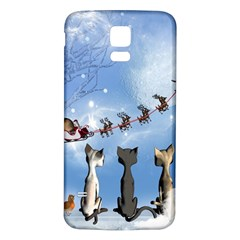 Christmas, Cute Cats Looking In The Sky To Santa Claus Samsung Galaxy S5 Back Case (white)