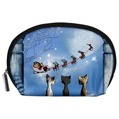 Christmas, Cute Cats Looking In The Sky To Santa Claus Accessory Pouches (large)