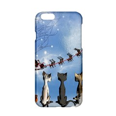 Christmas, Cute Cats Looking In The Sky To Santa Claus Apple Iphone 6/6s Hardshell Case