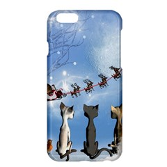 Christmas, Cute Cats Looking In The Sky To Santa Claus Apple Iphone 6 Plus/6s Plus Hardshell Case