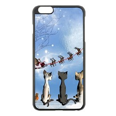 Christmas, Cute Cats Looking In The Sky To Santa Claus Apple Iphone 6 Plus/6s Plus Black Enamel Case