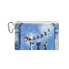 Christmas, Cute Cats Looking In The Sky To Santa Claus Canvas Cosmetic Bag (s)