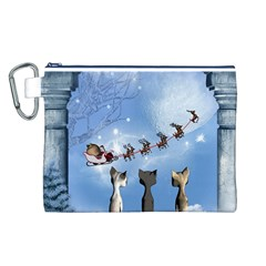 Christmas, Cute Cats Looking In The Sky To Santa Claus Canvas Cosmetic Bag (l)
