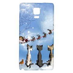 Christmas, Cute Cats Looking In The Sky To Santa Claus Galaxy Note 4 Back Case