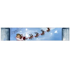 Christmas, Cute Cats Looking In The Sky To Santa Claus Flano Scarf (large)