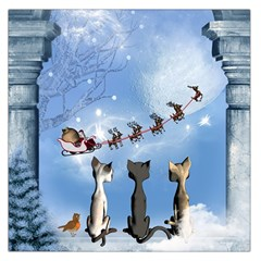 Christmas, Cute Cats Looking In The Sky To Santa Claus Large Satin Scarf (square)