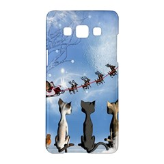 Christmas, Cute Cats Looking In The Sky To Santa Claus Samsung Galaxy A5 Hardshell Case