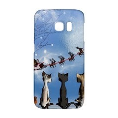 Christmas, Cute Cats Looking In The Sky To Santa Claus Galaxy S6 Edge