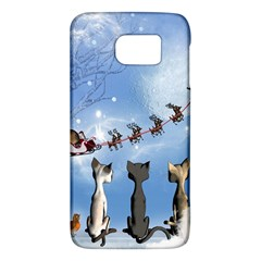 Christmas, Cute Cats Looking In The Sky To Santa Claus Galaxy S6