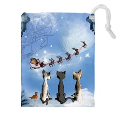 Christmas, Cute Cats Looking In The Sky To Santa Claus Drawstring Pouches (xxl)