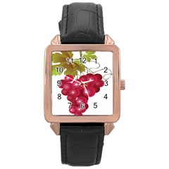 Red Fruit Grape Rose Gold Leather Watch