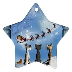 Christmas, Cute Cats Looking In The Sky To Santa Claus Ornament (star)