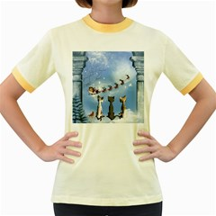 Christmas, Cute Cats Looking In The Sky To Santa Claus Women s Fitted Ringer T Shirts