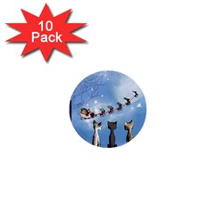 Christmas, Cute Cats Looking In The Sky To Santa Claus 1  Mini Buttons (10 Pack)