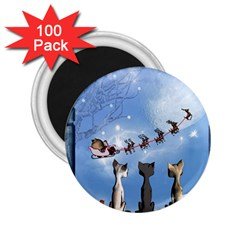 Christmas, Cute Cats Looking In The Sky To Santa Claus 2 25  Magnets (100 Pack)