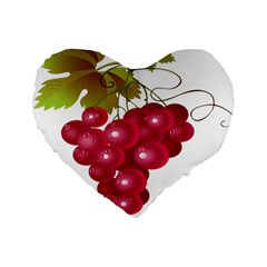Red Fruit Grape Standard 16  Premium Flano Heart Shape Cushions
