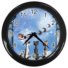 Christmas, Cute Cats Looking In The Sky To Santa Claus Wall Clocks (black)
