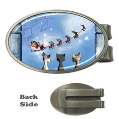 Christmas, Cute Cats Looking In The Sky To Santa Claus Money Clips (oval)