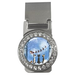 Christmas, Cute Cats Looking In The Sky To Santa Claus Money Clips (cz)