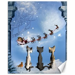 Christmas, Cute Cats Looking In The Sky To Santa Claus Canvas 16  X 20