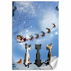 Christmas, Cute Cats Looking In The Sky To Santa Claus Canvas 20  X 30