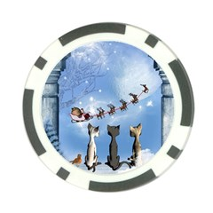 Christmas, Cute Cats Looking In The Sky To Santa Claus Poker Chip Card Guard (10 Pack)