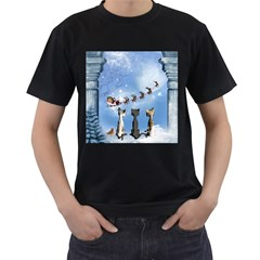 Christmas, Cute Cats Looking In The Sky To Santa Claus Men s T Shirt (black)