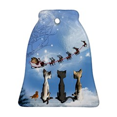 Christmas, Cute Cats Looking In The Sky To Santa Claus Bell Ornament (two Sides)
