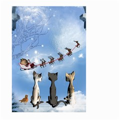 Christmas, Cute Cats Looking In The Sky To Santa Claus Large Garden Flag (two Sides)