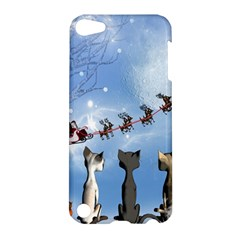 Christmas, Cute Cats Looking In The Sky To Santa Claus Apple Ipod Touch 5 Hardshell Case