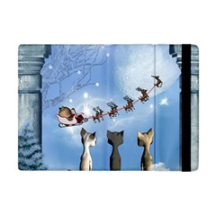 Christmas, Cute Cats Looking In The Sky To Santa Claus Apple Ipad Mini Flip Case