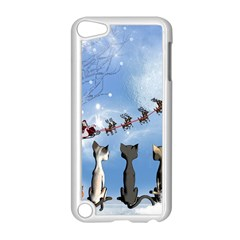 Christmas, Cute Cats Looking In The Sky To Santa Claus Apple Ipod Touch 5 Case (white)